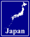silhouette map of Japan