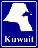 silhouette map of Kuwait
