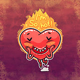 Cute Burning Heart for Valentine's Day