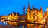 Quay Graslei in Ghent town at evening, Belgium