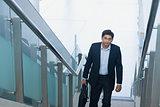 Asian Indian businessman ascending steps