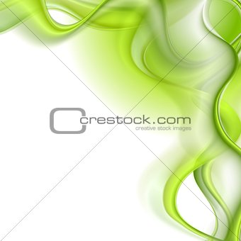 Bright green waves vector background