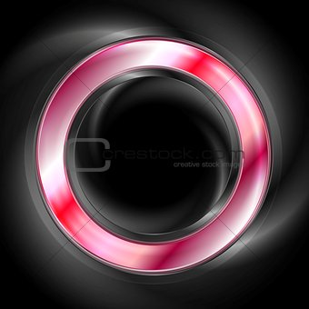 Bright glow red web circle element. Logo background