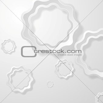Abstract light grey paper circles background