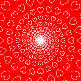 Design red heart spiral movement background