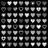 Heart icons set. 64 design elements.