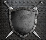 medieval shield with two crossed swords over scales armour background