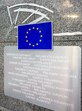 European Parliament entry sign