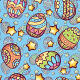 Vector seamless pattern of cartoon color eggs