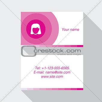 Modern pink business card template
