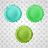 three color blank badges