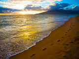 Kihei Sunset and Beach Footprints