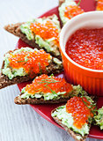Caviar and avocado toasts