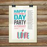 Happy Valentines Day Party Poster Design Template