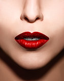 Closeup  red lips makeup