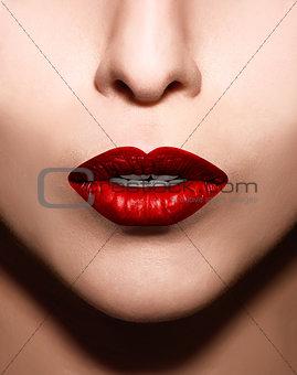 Closeup  red lips makeup