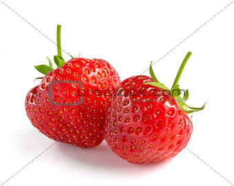 Close up of Fresh Sweet Strawberries on White Background