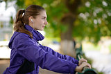Young Beautiful Fit Woman Exercising in the Park