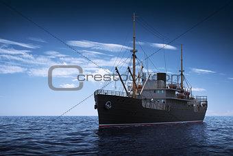 Cargo Ship. 3D Scene.