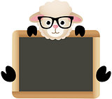 Cute Sheep with School Board