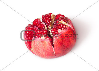 Broken Bright Ripe Delicious Juicy Pomegranate Top View Rotated