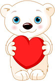 Valentine day polar bear