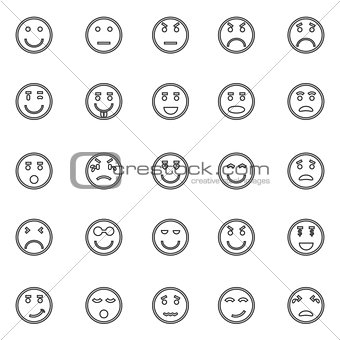 Circle face line icons on white background