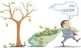 lucky businessman pulling a bag with money from the money tree