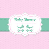 Baby shower greeting design in pink and green