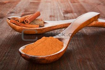 Cinnamon powder on wooden spoon.