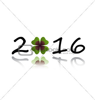 2016 greeting card with shamrock leaf
