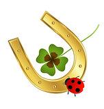 ladybird, horseshoe and shamrock leaf