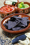 blue corn tortilla chips with salsa