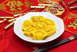homemade chinese gold ingot dumplings, spring festival food
