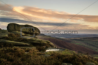 Beautiful Autumn Fall landscape of Hope Valley from Stanage Edge