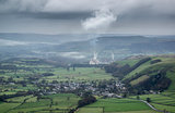 Misty Autumn morning landscape of Derwent Valley from Mam Tor in