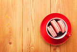 Pink macaron cookies