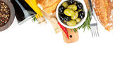 Italian food appetizer of olives, bread and spices