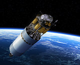 Crew Exploration Vehicle Orbiting Earth