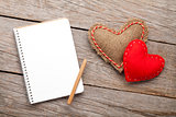Blank notepad and vintage handmaded valentines day hearts