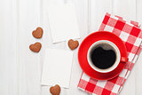 Valentines day blank photo frames, coffee cup and heart shaped cup