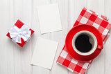 Valentines day blank photo frames, coffee cup and gift box