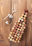 Wine bottle shaped corks and corkscrew