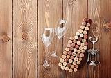 Wine bottle shaped corks, glasses and corkscrew