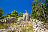 Old stone chapel on hill of Hvar