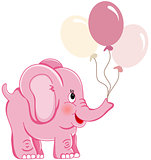 Cute pink elephant holding balloons