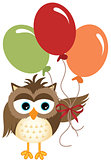 Owl holding balloons