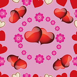 pattern with pink hearts for Valentine's Day