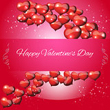 Card Valentines Day on a red background