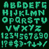 Green font smudges. alphabet splashing